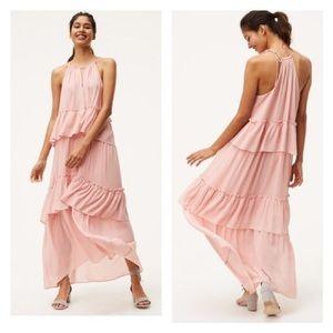 NWT Ann Taylor LOFT Pink Ruffle Maxi Dress